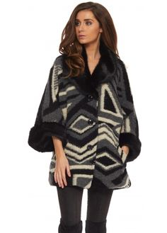 J&L Paris Black Aztec Print Faux Fur Collar & Cuffs Short Coat