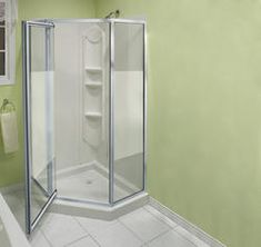 "Maax® 38"" Summit Neo-Angle Shower Kit Model Number: 300006-129-102  |  Menards® SKU: 6714729 Variation: Chrome finish - Center Silk glass $359.00"