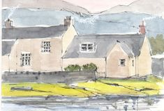 Original Watercolour Painting ACEO -Waterside Cottages- by Annabel Burton