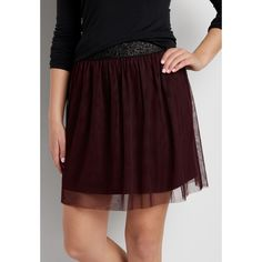 maurices Tulle Skirt With Shimmering Waistband In Deep Cabernet,... ($30) ❤ liked on Polyvore featuring skirts, tulle skirts, maurices, brown tulle skirt, knee length tulle skirt and brown skirt