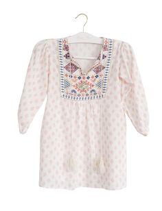 da677c18a5 Bonne Mere Moroccan embroidered girls dress Shell Pink