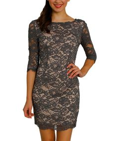 Another great find on #zulily! Charcoal Lace Bodycon Dress #zulilyfinds