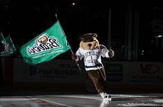 Bemidji State mascot Bucky Beaver skates around Sanford Center prior to a BSU home hockey game with his flag.