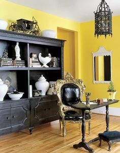 Elegant Office The drama of black, white, and yellow is playfully undercut by this office chair's upholstery, which is raincoat vinyl. Read more: Yellow Office Decor - Home Office Decor - Country Living ideas Black Black Furniture, Office Furniture, Home Furniture, Mirrored Furniture, Office Chairs, Bedroom Furniture, Modern Furniture, Furniture Design, Black Room Design