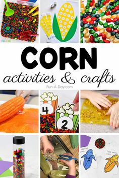 Hands-on corn activities and crafts make perfect fall activities for preschool! Who knew that corn could be so versatile? It's a paintbrush, a sensory explosion, and an amazing learning tool! Fall Preschool Activities, Early Learning Activities, Preschool Lesson Plans, Letter C Crafts, Rainbow Corn, Crafts For Kids, Kids Fun, Hands, Amazing
