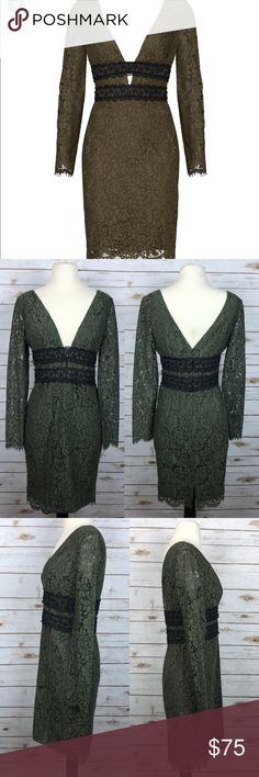 Diane Von Furstenberg Viera Lace Sheath Dress Diane Von Furstenberg Viera Green Double V-Neck Long Sleeve Dress Size 14. The size tag is missing and the measurements have been compared to the DVF size chart. Bust 39 Inches , Waist 33 Inches , hips 40 Inches and length 38.5 Inches . Cotton Blend. Lined. Back concealed zipper. The DVF name tag and size tag has been cut out however the DVF seal and style tag is present. Diane Von Furstenberg Dresses