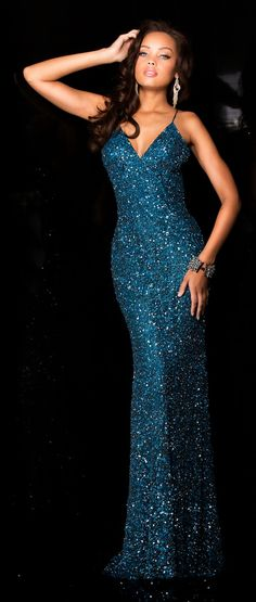 Evening Dresses Prom Dresses by SCALA<BR>asc47551<BR>Full length sheath silhouette V-neck gown with bead work from bodice to sweep train.