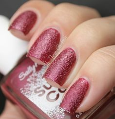 "Nice Berry Red color by Sally Hansen from the Sugar Coat collection in the shade ""Red Velvet."""