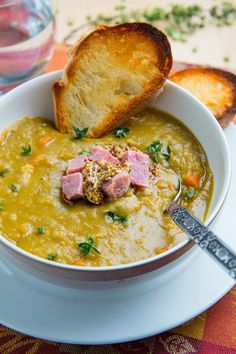 Split Pea Soup:  Onion, Carrots, Celery, Garlic, Thyme, Ham or Chicken Broth,  Split Peas, Ham Bone, Bay Leaves, Cayenne, Mustard, Lemon