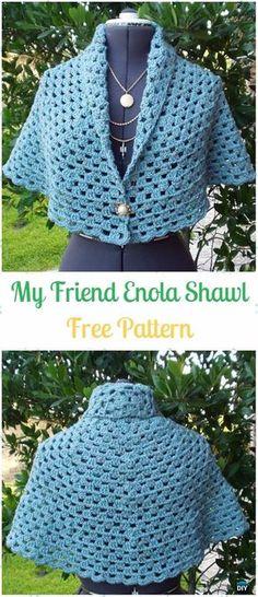 Crochet My Friend Enola Shawl Free Pattern - Crochet Women Shawl Sweater Outwear Free Patterns