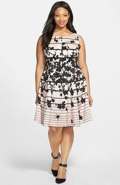 Gabby Skye Floral Stripe Print Shantung Fit & Flare Dress (Plus Size) available at #Nordstrom