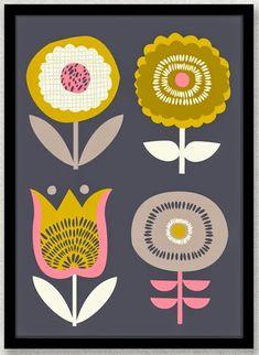 Items similar to Scandinavian Flowers Print on Etsy Floral Illustrations, Illustration Art, Flower Prints, Flower Art, Mid Century Art, Retro Pattern, Motif Floral, Surface Pattern Design, Graphic
