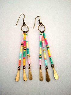 Boho Southwest Style Color Block Seed Bead Earrings - The Cheyenne Earrings