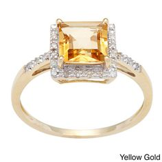 Viducci 10k Square-cut Gold Citrine and 1/10 TDW Diamond Ring (G-H, I1-I2) | Overstock™ Shopping - Top Rated Viducci Gemstone Rings