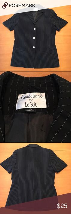 Pin striped shortsleeve blazer Black with white stripes. Padded shoulders. Silver button closure. very good used condition. Home is smoke and pet free. Le Suit Tops Blouses