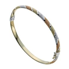 Together Bonded Silver & 9ct Gold Three Colour Bangle- H. Samuel the Jeweller