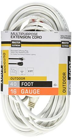 Master Electrician 0235601ME 40Feet Round Vinyl Outdoor Extension Cord White >>> Learn more by visiting the image link.