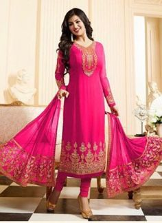 AYESHA TAKIA EMBROIDERED WORK HOT PINK FAUX GEORGETTE CHURIDAR DESIGNER SUIT