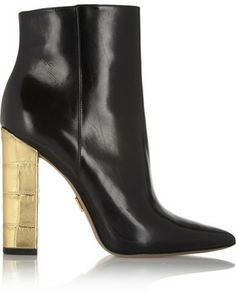 Michael Kors Stella leather and metallic croc-effect ankle boots on shopstyle.com