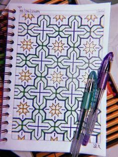 Graph Paper Drawings, Graph Paper Art, Blackwork Patterns, Zentangle Patterns, Bullet Journal Art, Art Journal Pages, Pattern Drawing, Pattern Art, Cross Stitch Geometric