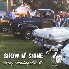 From @thechickenburger  Wondering what to do on a beautiful summer night? Come check out our weekly Show & Shine at the Chick!! Grab a burger & shake & stroll through the classic cars! Every Tuesday starting at 6:30pm! . .   check out @halifaxnoiseFOOD for more   . #classiccars #classicdiner #showandshine #thechickenburger #burgers #shakes #thingstodons #explorens #bedford #halifax #novascotia