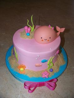 Amaya's 1st Birthday! by Erin Salerno, seashore theme cake, beach cake, ocean cakes
