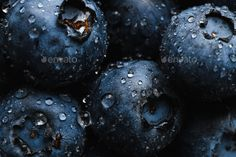 Fresh blueberry with water drops by KonstantinKolosov. Top view macro shot of fresh blueberry with water drops Vitamin Water, Macro Shots, Event Flyer Templates, Water Drops, Top View, Digital Photography, Group Health, Food Fresh, Blueberry