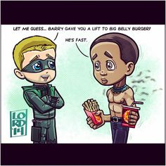 Arrow & Flash. Diggle getting fast food. By Lord Mesa