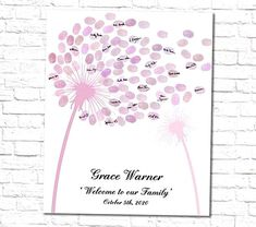 Cute baby shower fingerprint dandelion guest book alternative. Its a unique way to celebrate your babys baby shower party also a great choice for gender reveal and baptism. Your guests can leaf their thumbprints and sign their names to personalized this unique printable poster that you can appreciate for years on your wall. DIGITAL PRINTABLE FILE ONLY. NO PHYSICAL ITEM WILL BE SHIPPED This listing includes   Printable Dandelion Design  Printable Instruction Card 5x7  NOTE TO BUYERS  I accept all Shower Party, Baby Shower Parties, Baby Shower Fingerprint, Dandelion Designs, Baby Shower Signs, Guest Book Alternatives, Creations, Printer, Printables