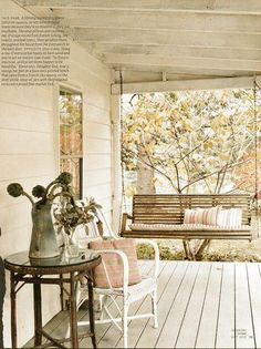 Shabby chic front porch and swing - from Cloth and Patina's facebook