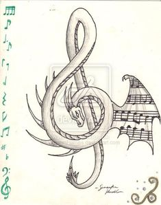 Dragon Treble Clef - My list of best tattoo models Music Drawings, Pencil Art Drawings, Art Drawings Sketches, Tattoo Drawings, Cool Drawings, Dragon Drawings, Music Artwork, Japanese Dragon Tattoo Meaning, Japanese Dragon Tattoos