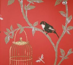 Birdcage Walk Wallpaper Trailing branches with black birds and gilt cages on a red background