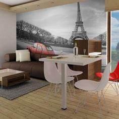 """Trwała, odporna na wodę i zarysowania flizelinowa fototapeta """"Wieża Eiffla i czerwony samochód"""" do przyklejenia na ścianę. Fototapeta """"Wieża Eiffla i czerwony samochód"""" z inspirującym motywem będzie efektowną ozdobą każdego pomieszczenia. Tour Eiffel, Paris Map, Belle Villa, City Maps, Chicago Restaurants, Okinawa Japan, Vintage Design, Night Life, Corner Desk"""
