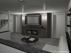 Media Lounge In Remodeled Family Area Of Basement.