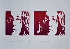 """""""Imagine... Twice !"""", linogravure réalisée en huit exemplaires par Eric Schelstraete, 2013. Portrait de John Lennon"""