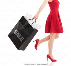 Exclusive by Bryan Alldredge, Woman in Red Dress with Shopping Bag - Stock Photos & Images | Stockafe.com #stockafe #stock photography