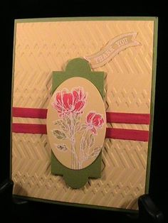 SU! Bloom with Hope and Itty Bitty Banners stamp sets; Apothecary Accents and Oval Collection Framelits; Zig Zag embossing folder; Old Olive and So Saffron card stock; Whisper White craft, Real Red and Old Olive ink - Susie Nelson