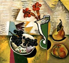 7. This still life was painted before Mirò joined the surrealist group. It shows the clear influence of Picasso's cubist style, although Mirò maintains his own personality creating the displayed objects with his typical bright and unnatural colours.