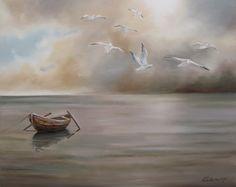 Samotna łódź.