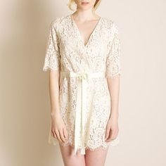 Buy Zinke luxury lingerie - Zinke Harvard Lace Robe With Ribbon Tie | Journelle Fine Lingerie