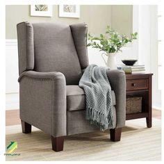 Gray Better Homes & Gardens Grayson Upholstered Wingback Pushback Recliner #BetterHomesandGardens