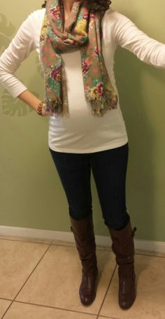 Maternity fashion, Kristina's closet, boots, scarf, 28 weeks