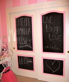 Closet doors for the kids rooms. Cute idea! This could be easily done with a little moulding and a miter saw (which I don't know how to use :)
