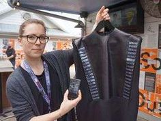 Wearable Solar CEO Pauline van Dongen shows off a solar dress at SXSW technology Sxsw 2014, Best Fitness Tracker, Wearable Technology, Heart Bracelet, Style Icons, Street Wear, Fashion Accessories, Leather Jacket, Smartwatch