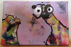 "Happy to Know You, Andie Bogdan, Mixed media on canvas, 4"" x 6"" - SOLD"