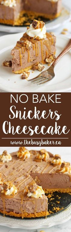 This No Bake Snickers Cheesecake is the perfect easy to make decadent dessert! Recipe from www.thebusybaker.ca