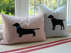 DIY Restoration Hardware Inspired Dog Silhouette Pillows. Love this: man's shirt using buttons for the back so you can get pillow form in, then felt and ribbon using Heat N Bond. #diy #crafts #silhouettes #dogs #felt #sewing #upcycle #recycle #pillows