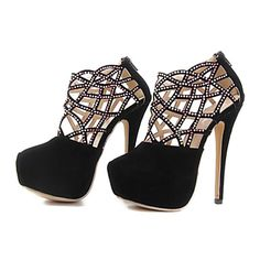 bombas de tacón de aguja de punta redonda de las mujeres del ante con los zapatos de la cremallera - USD $ 24.99