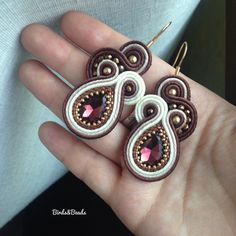 Zipper Jewelry, Handmade Beaded Jewelry, Earrings Handmade, Bead Jewellery, Boho Jewelry, Jewelery, Macrame Earrings Tutorial, Earring Tutorial, Soutache Necklace