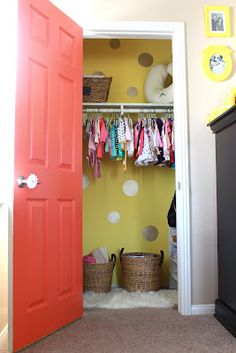 Love the idea of painting the inside of the nursery closet door...Velvet Moss: Nursery Closet...Before & After